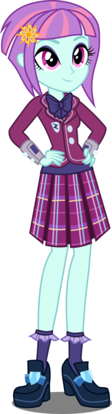 Size: 1440x5316   Tagged: absurd resolution, artist:xebck, bowtie, clothes, crystal prep academy, crystal prep academy uniform, crystal prep shadowbolts, derpibooru import, equestria girls, friendship games, hand on hip, pleated skirt, safe, school uniform, simple background, skirt, solo, sunny flare, transparent background, vector, wristband