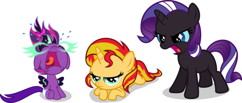 Size: 2919x1243   Tagged: safe, artist:punzil504, derpibooru import, nightmare rarity, sci-twi, sunset shimmer, twilight sparkle, ponified, pony, equestria girls, 5-year-old, baby, babylight sparkle, babynight sparkle, baby pony, cute, equestria girls ponified, filly, midnightabetes, midnight sparkle, younger