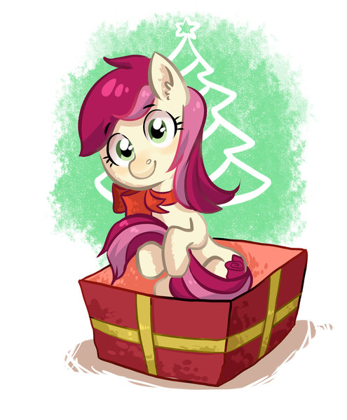 Size: 2200x2665   Tagged: adorarose, artist:lis-alis, bow, box, cute, derpibooru import, earth pony, female, hug, looking at you, mare, pony, pony in a box, present, roseluck, safe, sitting, solo, tail hug
