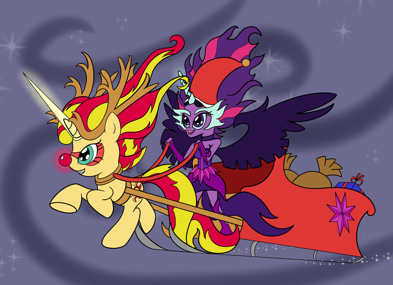 Size: 3508x2550   Tagged: safe, artist:cybersquirrel, derpibooru import, sci-twi, sunset shimmer, twilight sparkle, ponified, pony, equestria girls, christmas, cute, daydream shimmer, equestria girls ponified, flying, midnightabetes, midnight sparkle, night, night sky, red nosed reindeer, sleigh