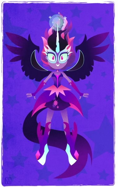 Size: 495x781 | Tagged: artist:disfiguredstick, cute, derpibooru import, equestria girls, friendship games, horn, midnightabetes, midnight sparkle, safe, sci-twi, solo, twilight sparkle, wings