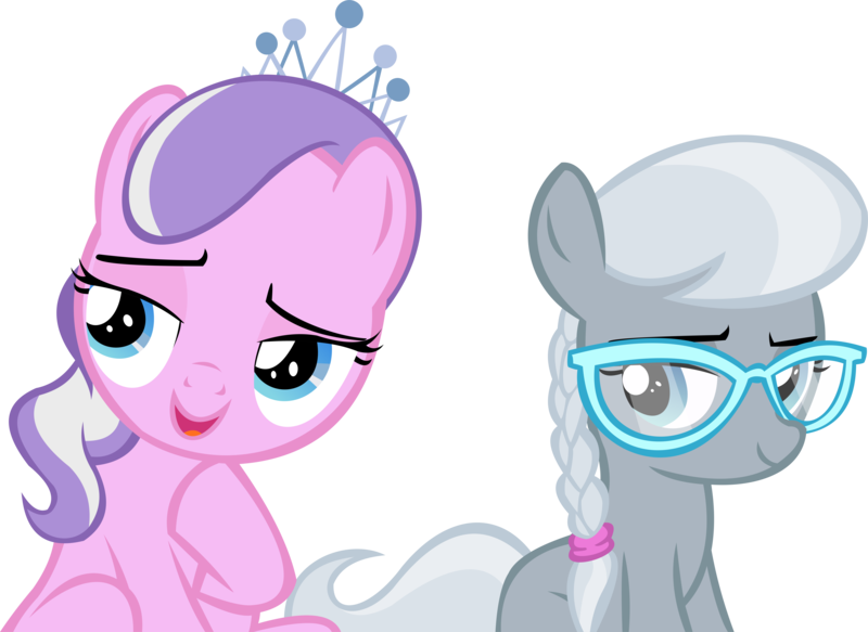 Size: 13134x9568 | Tagged: safe, artist:cyanlightning, derpibooru import, diamond tiara, silver spoon, earth pony, pony, twilight time, absurd resolution, considering, glasses, jewelry, missing accessory, missing cutie mark, simple background, .svg available, tiara, transparent background, vector