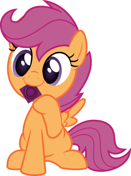 Size: 3744x5000   Tagged: suggestive, artist:salemcat, derpibooru import, scootaloo, pegasus, pony, condom, condom in mouth, female, filly, implied foalcon, mouth hold, raised hoof, show accurate, simple background, sitting, smiling, solo, spread wings, transparent background, wings