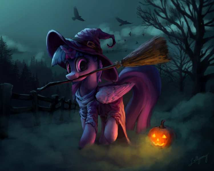 Size: 2000x1600 | Tagged: safe, artist:lollipony, derpibooru import, twilight sparkle, twilight sparkle (alicorn), alicorn, bird, crow, pony, :3, broom, clothes, costume, cute, dark, dress, featured image, female, fence, fog, forest, halloween, halloween costume, hat, holiday, horn, image, jack-o-lantern, jpeg, looking at you, mare, mouth hold, night, nightmare night, nightmare night costume, nom, pose, pumpkin, raised hoof, raised leg, robes, scenery, silhouette, smiling, solo, spoopy, standing, tree, twiabetes, wing fluff, wings, witch, witch hat