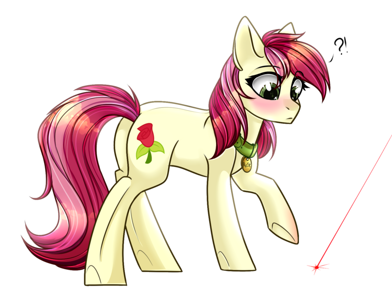 Size: 1600x1200 | Tagged: adorarose, artist:cloud-fly, behaving like a cat, blushing, collar, cute, derpibooru import, digital art, earth pony, female, laser pointer, looking at something, mare, pet tag, pony, pony pet, roseluck, rosepet, safe, simple background, solo, transparent background