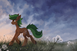 Size: 2283x1526 | Tagged: artist:koviry, derpibooru import, earth pony, oc, oc:jaeger sylva, plant, pony, safe, solo, unofficial characters only