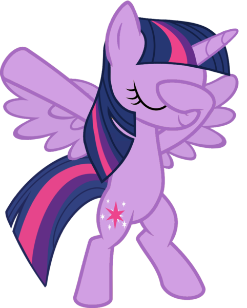 Size: 813x1012 | Tagged: alicorn, artist:uigsyvigvusy, artist:wissle, bipedal, covering eyes, cute, dab, derpibooru import, eyes closed, facehoof, female, mare, pony, safe, simple background, smiling, solo, spread wings, trace, transparent background, twiabetes, twilight sparkle, twilight sparkle (alicorn), vector, wings