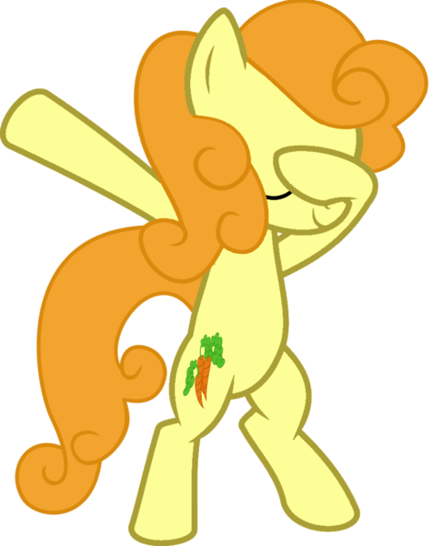 Size: 813x1024 | Tagged: artist:uigsyvigvusy, artist:wissle, bipedal, carrot top, covering eyes, cute, cutie top, dab, derpibooru import, earth pony, eyes closed, facehoof, female, golden harvest, mare, pony, safe, simple background, smiling, solo, trace, transparent background, vector