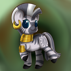 Size: 2000x2000   Tagged: artist:seshichan, blurred background, colored pupils, cute, derpibooru import, ear piercing, earring, high res, jewelry, piercing, safe, solo, zebra, zecora, zecorable