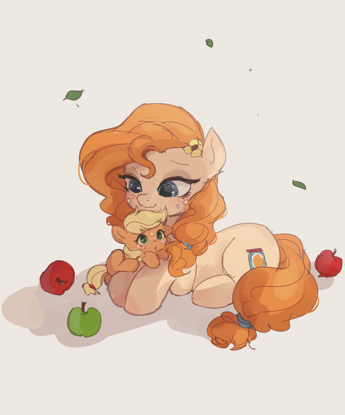 Size: 1411x1700 | Tagged: safe, artist:tcn1205, derpibooru import, applejack, pear butter, earth pony, pony, apple, cute, daaaaaaaaaaaw, ear fluff, female, filly, filly applejack, flower, flower in hair, food, jackabetes, mare, mom, mother and child, mother and daughter, pearabetes, weapons-grade cute, younger