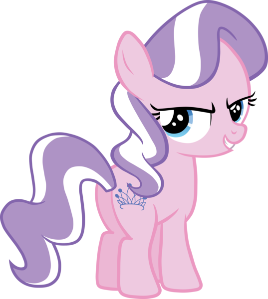 Size: 4000x4469 | Tagged: absurd resolution, accessory-less edit, artist:scrimpeh, butt, derpibooru import, diamond tiara, earth pony, edit, editor:slayerbvc, female, filly, looking at you, missing accessory, plot, pony, safe, simple background, solo, transparent background, vector, vector edit