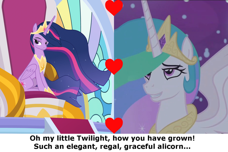 Size: 1500x1000   Tagged: safe, derpibooru import, edit, edited screencap, screencap, princess celestia, twilight sparkle, twilight sparkle (alicorn), alicorn, pony, a royal problem, the last problem, adult, canterlot castle, caption, cropped, crown, ethereal mane, female, flowing mane, folded wings, heart, hoof shoes, image macro, jewelry, lesbian, lidded eyes, looking up, mare, momlestia, motherly, night, older, princess twilight 2.0, regalia, shipping, smiling, smuglight sparkle, spread wings, text, throne room, twilestia, wings