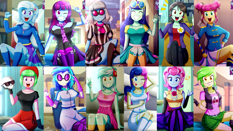 Size: 3840x2160   Tagged: adorabon, artist:the-butch-x, blueberry cake, bon bon, butch's hello, cherry crash, cute, derpibooru import, drama letter, equestria girls, glasses, grin, happy, hello x, looking at you, lyrabetes, lyra heartstrings, majorette, mysterybetes, mystery mint, one eye closed, open mouth, photaww finish, photo finish, question mark, safe, schrödinger's pantsu, smiling, sophisticata, sweeten sour, sweetie drops, tongue out, trixie, vinylbetes, vinyl scratch, violet blurr, wallpaper, watermelody, waving, wink