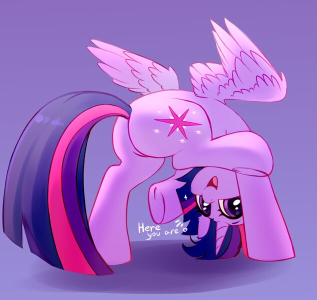 Size: 2248x2128 | Tagged: safe, artist:taneysha, derpibooru import, twilight sparkle, alicorn, pony, butt, cute, dialogue, ear fluff, featured image, female, heart, high res, image, jpeg, looking at you, looking between legs, mare, open mouth, plot, purple background, silly, silly pony, simple background, solo, twiabetes, twibutt, twilight sparkle (alicorn), upside down