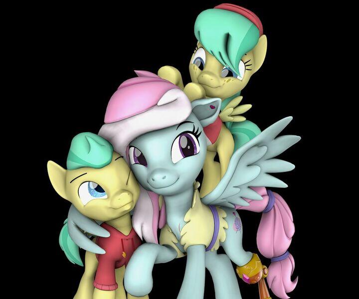 Size: 1280x1066   Tagged: 3d, amputee, artist:pika-robo, barley barrel, barleybetes, barrel twins, black background, brother and sister, colt, cute, daaaaaaaaaaaw, derpibooru import, female, filly, fufflebetes, hug, kerfuffle, looking down, looking up, male, pegasus, pickle barrel, picklebetes, ponies riding ponies, pony, prosthetic leg, prosthetic limb, prosthetics, rainbow roadtrip, riding, safe, siblings, simple background, source filmmaker, trio, twins, winghug