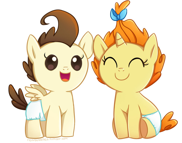 Size: 920x726 | Tagged: artist:tsurime, baby, baby pony, cake twins, colt, cute, derpibooru import, duo, eyes closed, female, filly, happy, male, open mouth, pegasus, pony, poundabetes, pound cake, pumpkinbetes, pumpkin cake, safe, siblings, simple background, smiling, twins, unicorn, white background