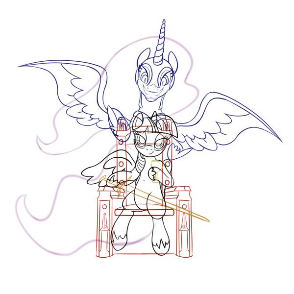 Size: 3500x3500 | Tagged: safe, artist:salemcat, derpibooru import, nightmare moon, twilight sparkle, twilight sparkle (alicorn), alicorn, pony, sword, the witcher, throne, weapon, wip