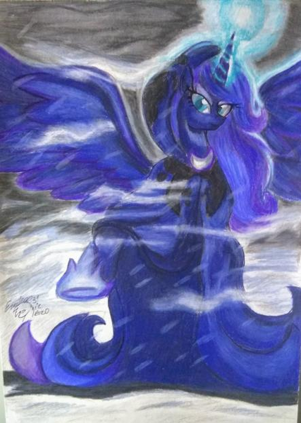 Size: 443x623 | Tagged: alicorn, artist:shadowingartist, cape, clothes, hearth's warming eve, magic, magic aura, moon, princess luna, safe, snow, solo, spread wings, wings, winter