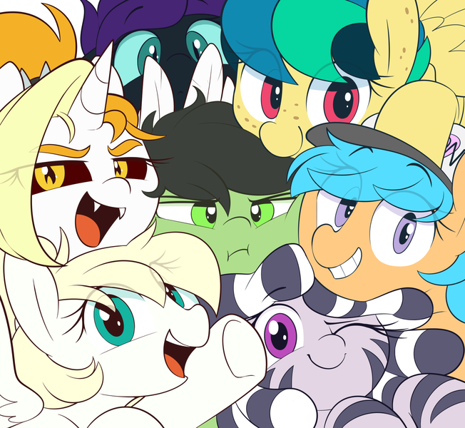 Size: 1612x1484 | Tagged: alicorn, annoyed, artist:shinodage, baseball cap, blonde mane, blue eyes, blue sclera, cap, cyan eyes, :d, earth pony, fangs, featured image, female, filly, freckles, green coat, green eyes, group photo, hat, horn, :i, looking at you, oc, oc:anonfilly, oc:apogee, oc:dyx, oc:little league, oc:luftkrieg, oc:nyx, oc:zala, one eye closed, open mouth, pegasus, pink eyes, pony, purple eyes, red sclera, safe, slit eyes, smiling, smiling at you, two toned mane, unofficial characters only, white coat, wings, wink, zebra