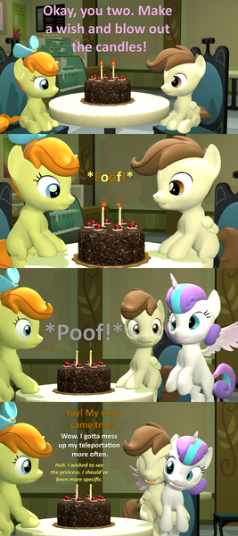 Size: 1920x4320 | Tagged: 3d, artist:red4567, birthday, cake, comic, cute, cuteness overload, derpibooru import, female, food, hug, implied pinkie pie, implied twilight sparkle, male, offscreen character, older, poundabetes, pound cake, poundflurry, princess flurry heart, pumpkin cake, safe, shipping, source filmmaker, straight, teleportation mishap, wholesome