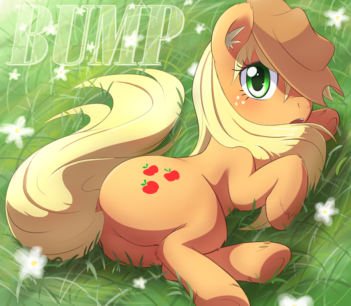Size: 800x698 | Tagged: safe, anonymous editor, artist:aymint, edit, applejack, earth pony, pony, blushing, bump, butt, cute, dock, female, flower, grass, hat, jackabetes, looking at you, loose hair, mare, plot, png, side, solo, underhoof, unshorn fetlocks