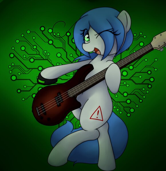 Size: 1981x2048 | Tagged: safe, artist:datte-before-dawn, oc, oc:mal, unofficial characters only, earth pony, pony, bipedal, circuit, eye clipping through hair, female, guitar, guitar pick, jpeg, mare, musical instrument, one eye closed, open mouth, solo, wink