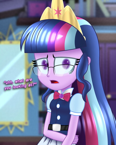 Size: 2000x2500 | Tagged: safe, artist:aryatheeditor, derpibooru import, sci-twi, twilight sparkle, equestria girls, beautiful, bedroom, belt, big crown thingy, bowtie, crown, cute, cutie mark, digital art, element of magic, female, geode of telekinesis, glasses, image, insecure, jewelry, jpeg, looking at you, magical geodes, midnightabetes, midnight sparkle, nervous, outfit, pendant, powerful sparkle, regalia, shy, solo, straight hair, subtitles, twiabetes