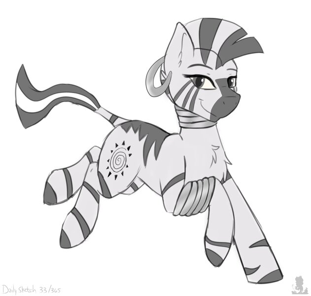 Size: 3681x3500 | Tagged: safe, artist:ezeronaa, artist:monsoonvisionz, derpibooru import, zecora, pony, zebra, bracelet, cute, ear piercing, earring, female, galloping, grayscale, image, jewelry, jpeg, looking at you, mare, monochrome, neck rings, piercing, quadrupedal, simple background, smiling, solo, white background, zecorable