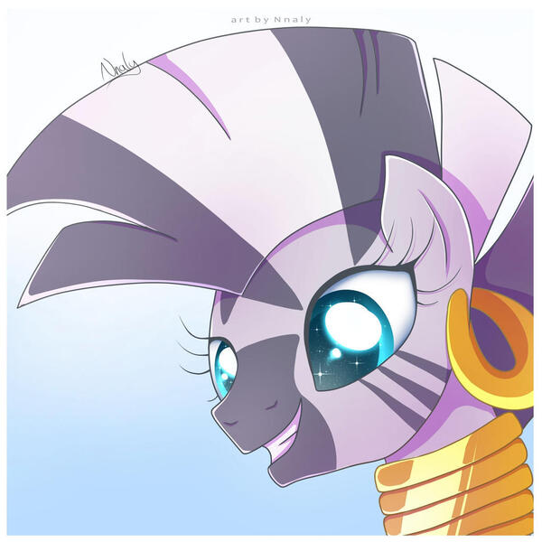 Size: 1024x1024 | Tagged: safe, artist:nnaly, derpibooru import, zecora, pony, zebra, bust, catchlights, cute, ear piercing, earring, female, grin, image, jewelry, jpeg, mare, neck rings, piercing, portrait, quadrupedal, signature, smiling, solo, sparkly eyes, zecorable