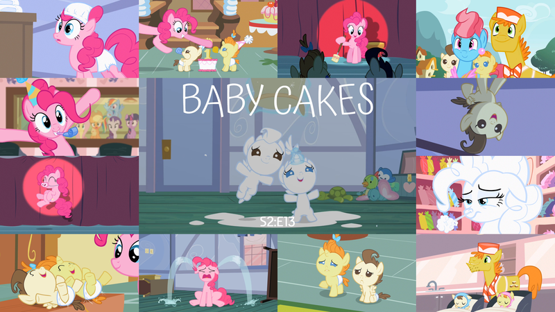 Size: 1978x1113 | Tagged: safe, derpibooru import, edit, edited screencap, editor:quoterific, screencap, applejack, carrot cake, cup cake, fluttershy, pinkie pie, pound cake, pumpkin cake, rainbow dash, rarity, twilight sparkle, earth pony, pegasus, pony, unicorn, baby cakes, about to cry, broom, crying, cute, diaper, eyes closed, flour, hat, horn, image, laughing, mane six, open mouth, party hat, png, poundabetes, pumpkinbetes, shocked, unicorn twilight