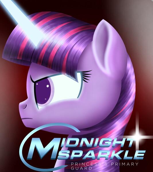 Size: 1920x2160 | Tagged: safe, artist:aryatheeditor, derpibooru import, twilight sparkle, ponified, pony, unicorn, equestria girls, angry, badass, cover, cover art, cute, digital art, equestria girls ponified, female, glow, glowing eyes, headcanon, horn, image, jpeg, lineless, midnightabetes, midnight sparkle, photo, semi-realistic, side view, twiabetes