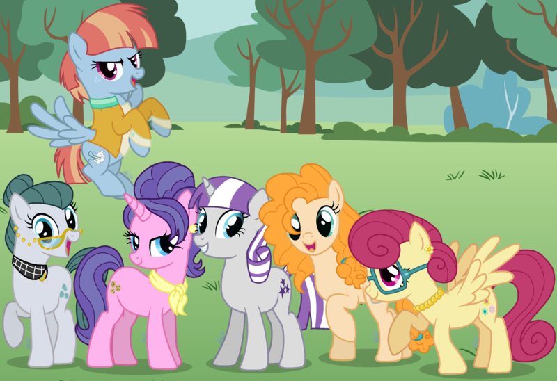 Size: 3443x2358 | Tagged: safe, artist:arcticwindsbases, artist:brushprism, artist:cheezedoodle96, artist:paganmuffin, artist:salemcat, artist:the-mystery-of-doom, derpibooru import, cloudy quartz, cookie crumbles, pear butter, posey shy, twilight velvet, windy whistles, image, moms, mom six, parent, png