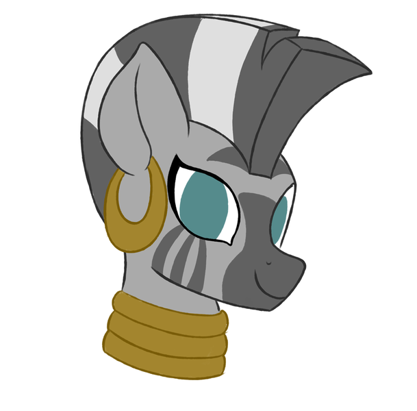 Size: 854x841 | Tagged: safe, artist:iron curtain, derpibooru import, zecora, pony, zebra, choker, cute, ear piercing, earring, female, image, jewelry, looking at you, lowres, piercing, png, simple background, smiling, solo, white background, zecorable
