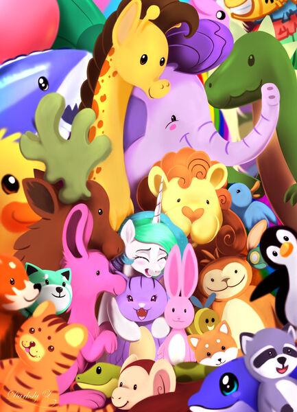 Size: 1950x2700   Tagged: safe, artist:darksly, derpibooru import, princess celestia, alicorn, bird, cat, dinosaur, dolphin, duck, elephant, fox, giraffe, monkey, penguin, pony, raccoon, atg 2021, cute, cutelestia, eyes closed, image, jpeg, newbie artist training grounds, open mouth, plushie, stuffed animals