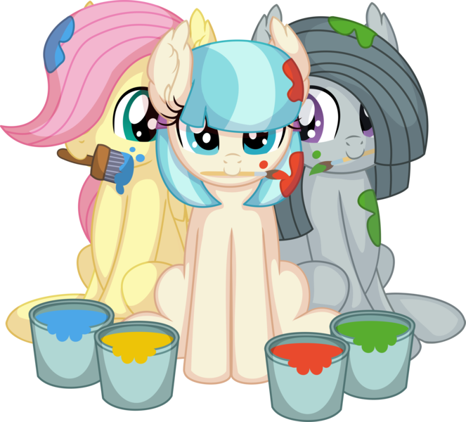 Size: 7612x6889   Tagged: safe, artist:cyanlightning, derpibooru import, coco pommel, fluttershy, marble pie, earth pony, pegasus, pony, absurd resolution, cocobetes, cute, ear fluff, female, filly, image, marblebetes, mouth hold, paint, paintbrush, paint bucket, png, shyabetes, simple background, sitting, .svg available, the council of shy ponies, transparent background, trio, trio female, vector, young, younger
