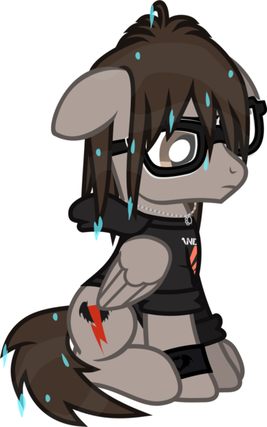 Size: 727x1163 | Tagged: safe, artist:lightningbolt, derpibooru import, ponified, pegasus, pony, clandestine industries, clothes, derpibooru exclusive, floppy ears, folded wings, frown, glasses, hoodie, image, jewelry, male, mikey way, my chemical romance, necklace, png, sad, shirt, simple background, sitting, solo, stallion, .svg available, transparent background, t-shirt, vector, wet, wet mane, wings, wristband