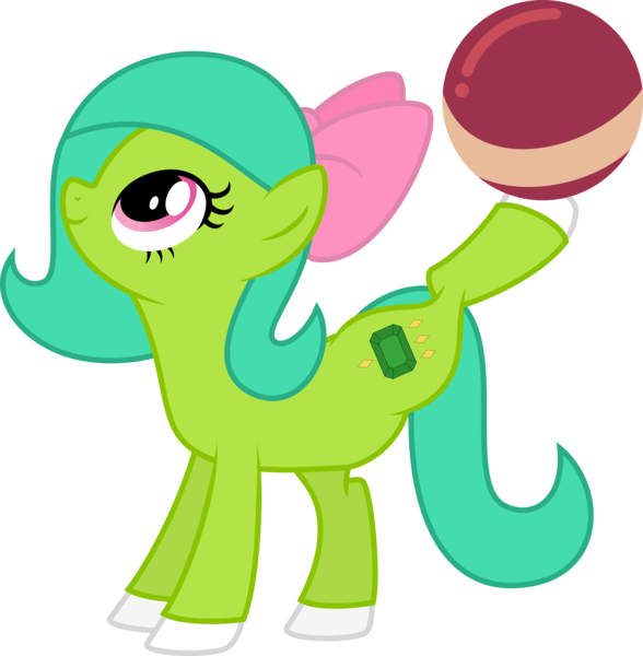 Size: 4000x4085   Tagged: safe, artist:melisareb, derpibooru import, oc, oc:emerald joy, unofficial characters only, earth pony, pony, absurd resolution, ball, bow, female, image, looking up, mare, png, side view, simple background, solo, transparent background, vector