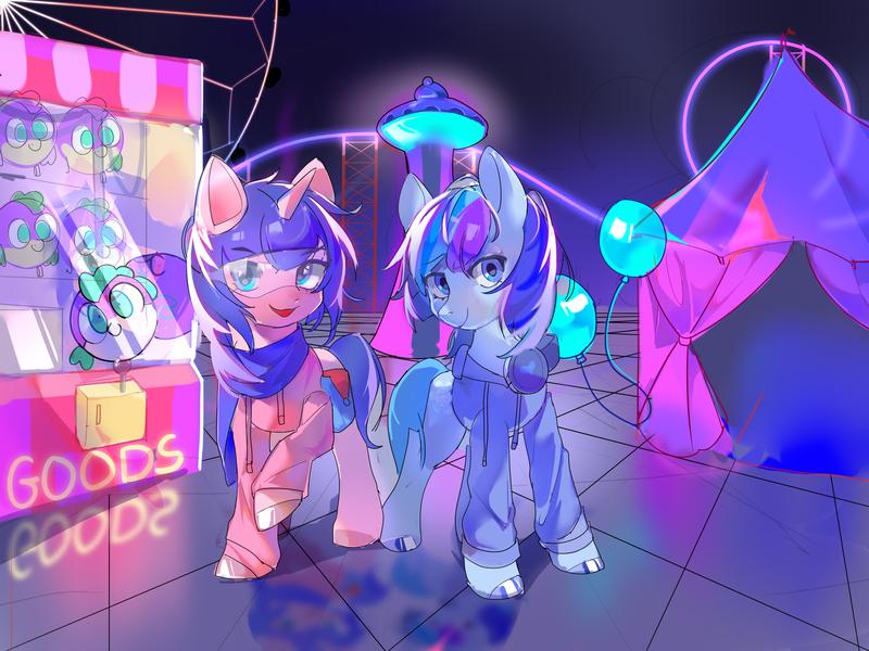 Size: 4000x3000   Tagged: safe, artist:plasmafall, derpibooru import, oc, earth pony, unicorn, arcade, commission, image, png