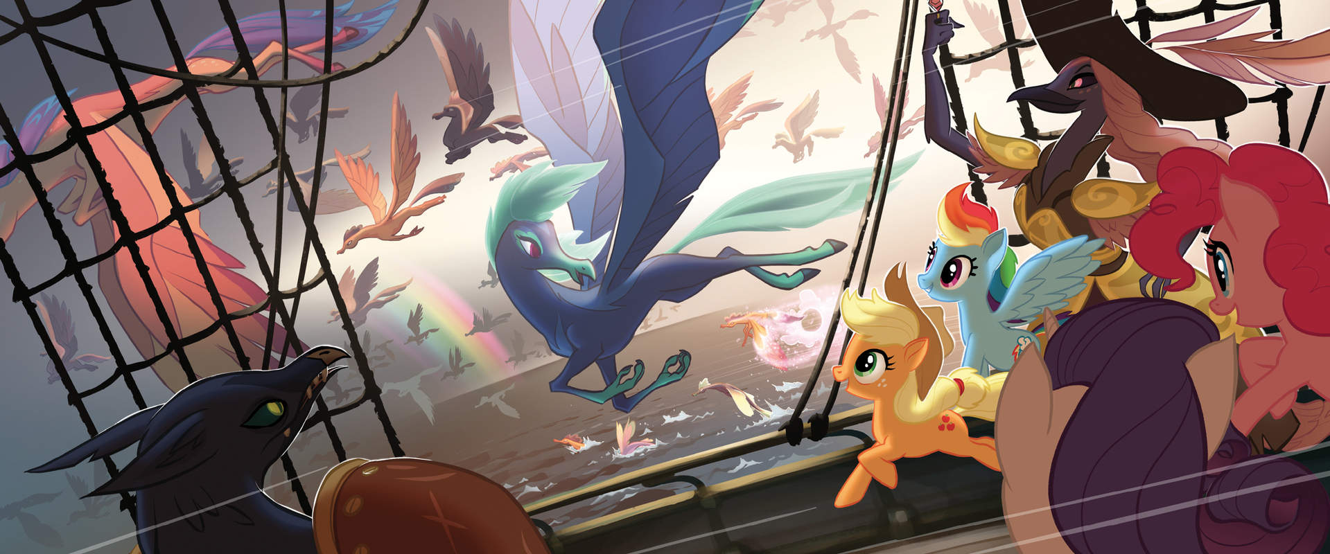 1206621 - anthro, anthro with ponies, applejack, artist:tony cliff, captain  celaeno, classical hippogriff, concept art, cowboy hat, derpibooru import,  earth pony, female, hat, hippogriff, madame harpy, mare, my little pony:  the movie,